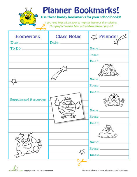 Third Grade Arts & crafts Worksheets: Make Your Own Bookmarks