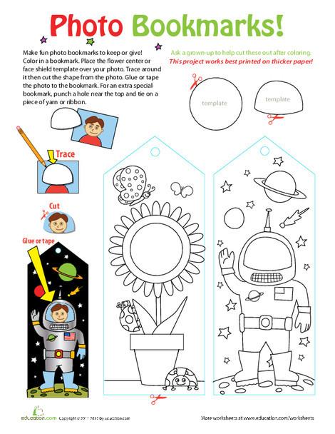 Third Grade Arts & crafts Worksheets: Photo Bookmarks