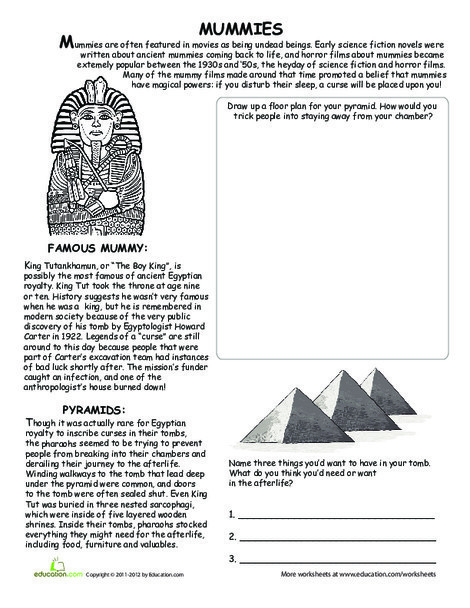 Fifth Grade Reading & Writing Worksheets: All About Mummies