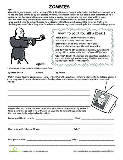 Fifth Grade Reading & Writing Worksheets: All About Zombies