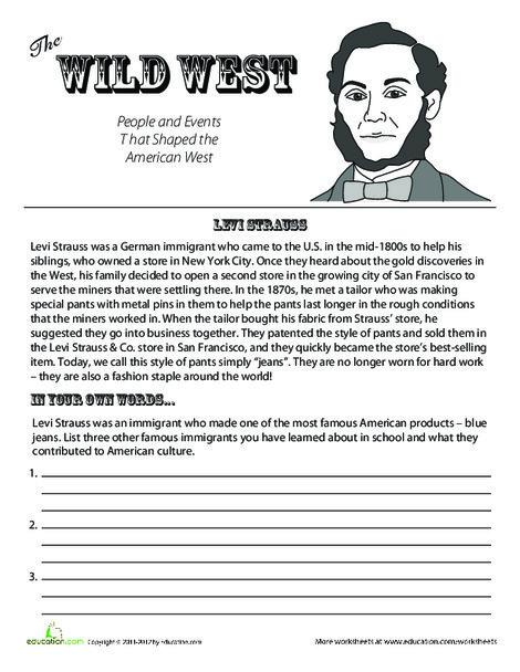 Fourth Grade Social studies Worksheets: Levi Strauss