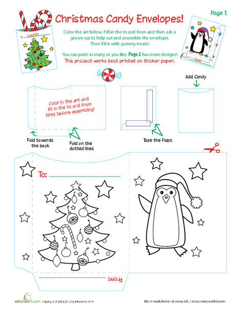 Second Grade Holidays Worksheets: Christmas Goodie Bags