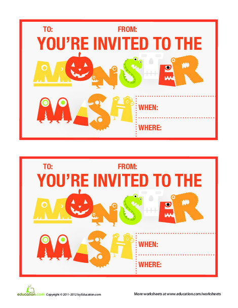 Third Grade Holidays Worksheets: Monster Mash Bash Invitation