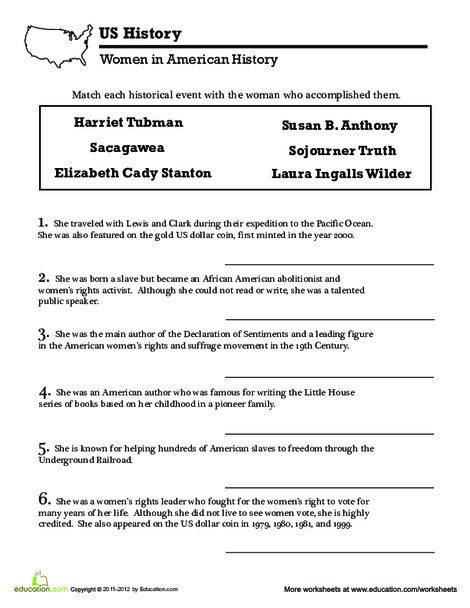 Fifth Grade Social studies Worksheets: Famous Women in History