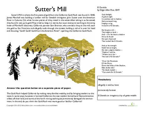 Fourth Grade Social studies Worksheets: California Gold Rush: Sutter's Mill