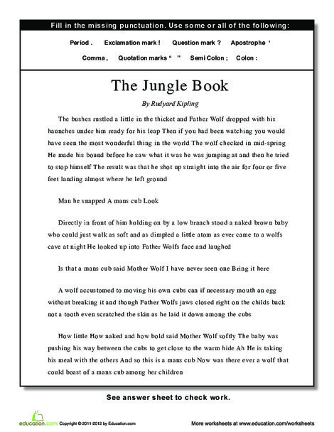 Fourth Grade Reading & Writing Worksheets: Punctuation: The Jungle Book
