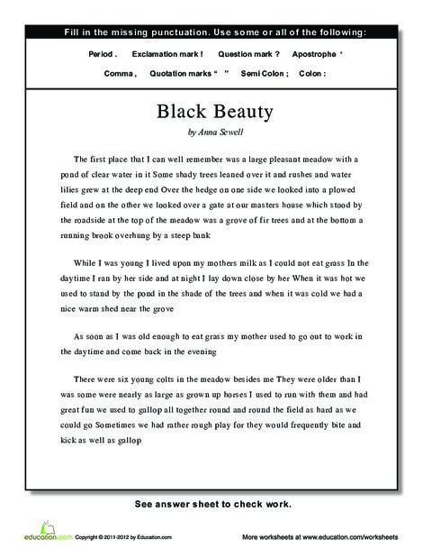 Fourth Grade Reading & Writing Worksheets: Punctuation: Black Beauty