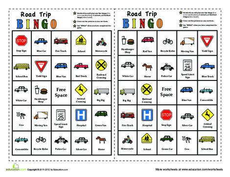 First Grade Offline games Worksheets: In-The-Car Bingo