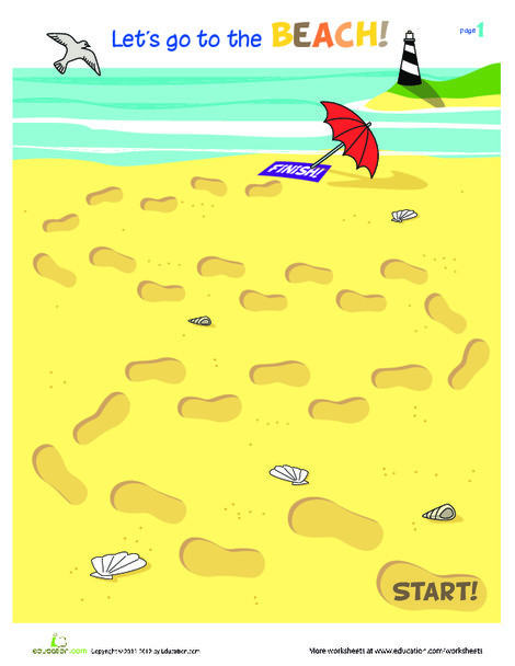 Kindergarten Seasons Worksheets: Let's Go to the Beach!
