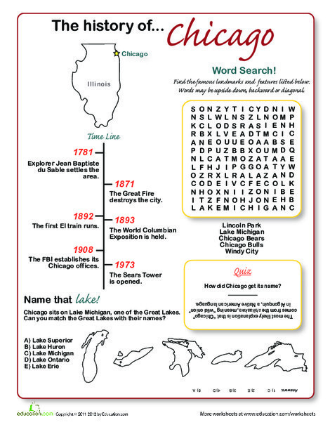 Third Grade Social studies Worksheets: History of Chicago