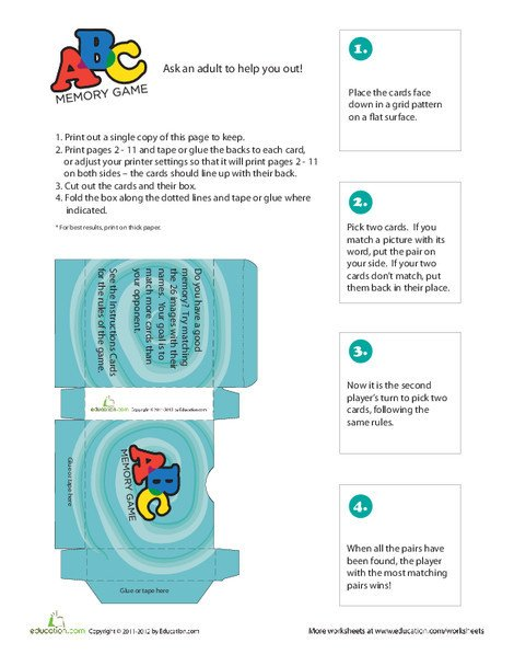 First Grade Offline games Worksheets: ABC Memory Game