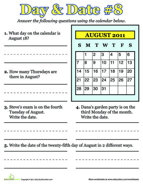 Second Grade Seasons Worksheets: August 2011: Calendar Learning