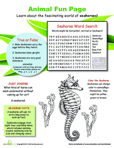 Fourth Grade Science Worksheets: Swim with the Seahorses