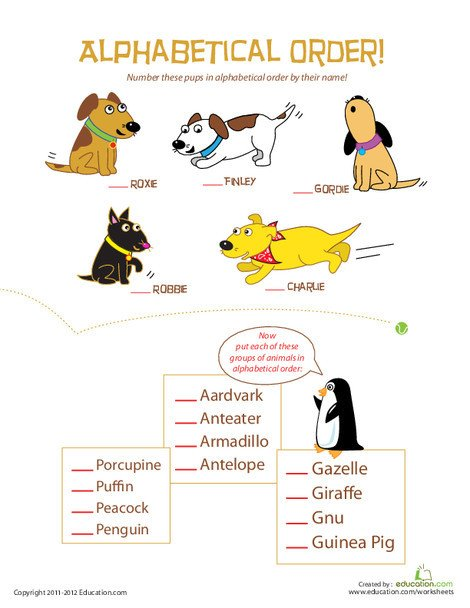 Third Grade Reading & Writing Worksheets: Animal Alphabetical Order