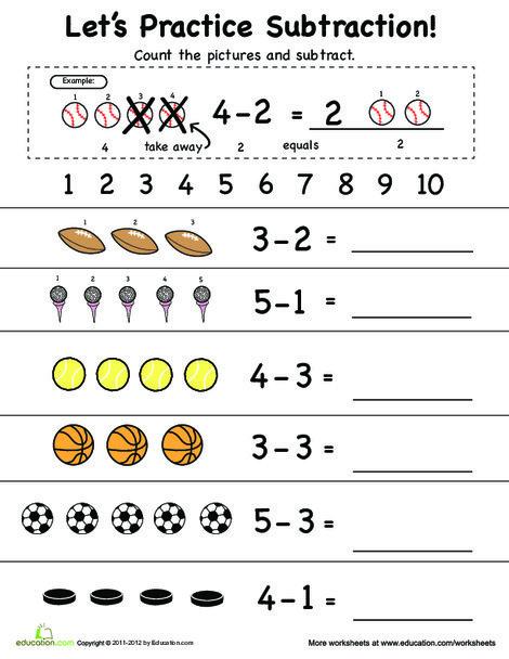 Preschool Math Worksheets: Beginning Subtraction: 1 to 5