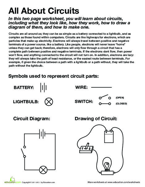 Fourth Grade Science Worksheets: All About Circuits