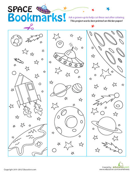 First Grade Arts & crafts Worksheets: Color Bookmarks from Space!