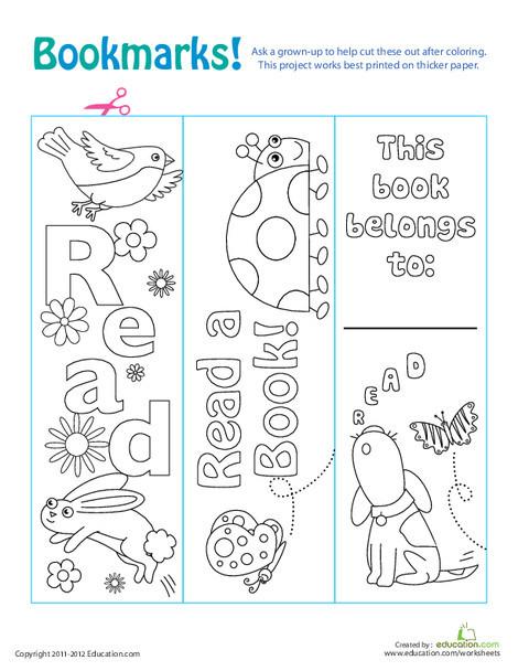 Kindergarten Arts & crafts Worksheets: Color Your Own Bookmarks!