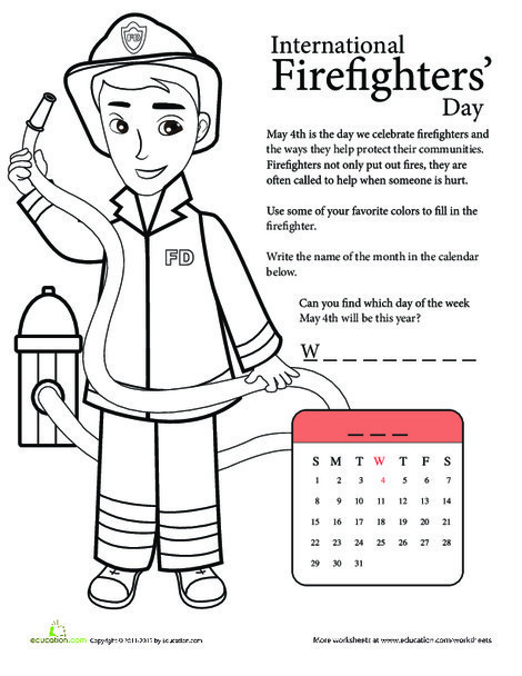 First Grade Social studies Worksheets: National Firefighters' Day