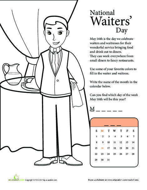 First Grade Social studies Worksheets: Celebrate National Waiters' Day