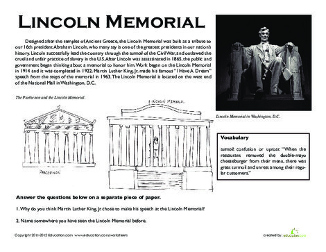 Third Grade Reading & Writing Worksheets: Lincoln Memorial Facts