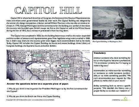 Fifth Grade Social studies Worksheets: Capitol Hill, Washington D.C.
