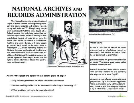 Fifth Grade Social studies Worksheets: National Archives in Washington, D.C.