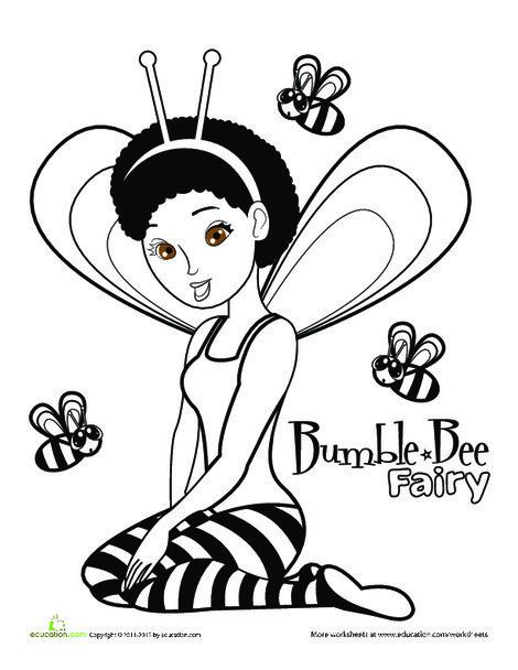 Preschool Coloring Worksheets: Cute Fairy