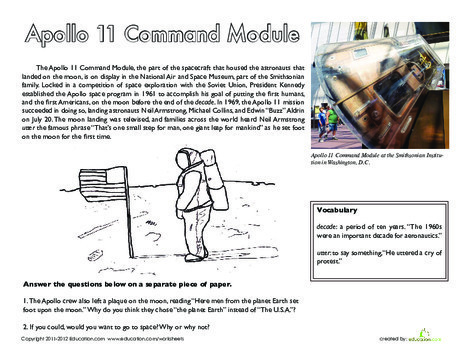 Fifth Grade Social studies Worksheets: National Treasure: Apollo 11 Command Module