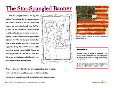 Third Grade Social studies Worksheets: National Treasures: The Star-Spangled Banner