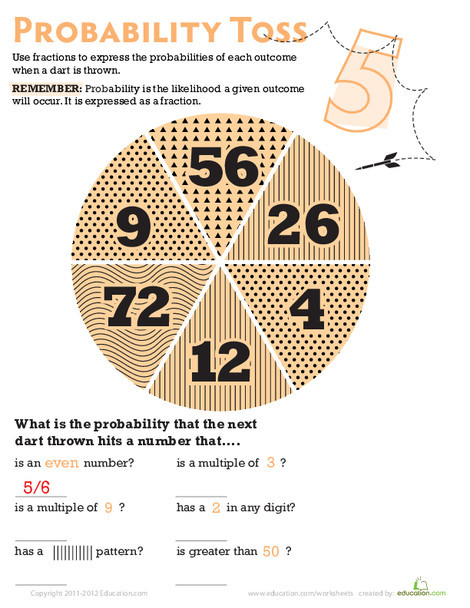 Fifth Grade Math Worksheets: Probability Toss 5