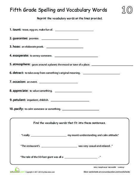 Fifth Grade Reading & Writing Worksheets: Vocabulary List