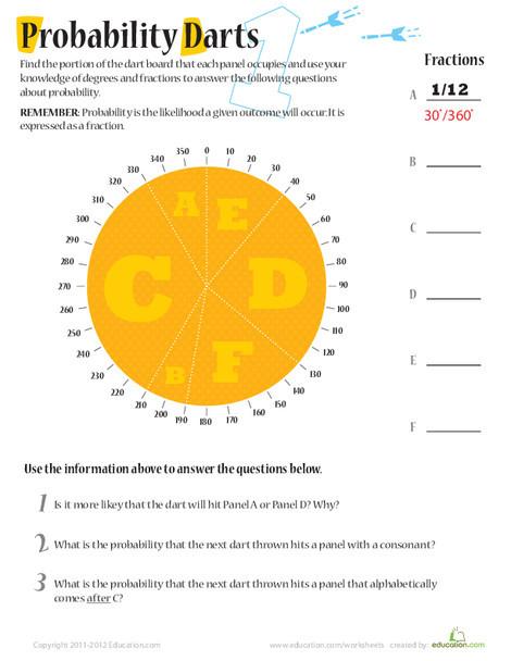 Fifth Grade Math Worksheets: Probability Darts 1