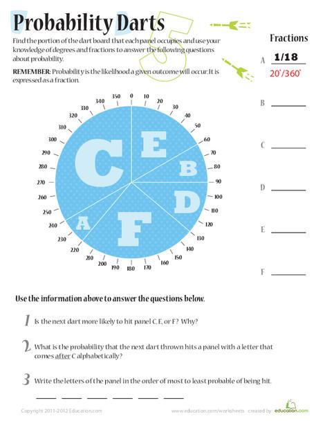 Fifth Grade Math Worksheets: Probability Darts 5