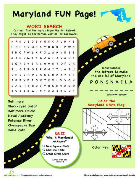 Fourth Grade Social studies Worksheets: Maryland Fun Facts