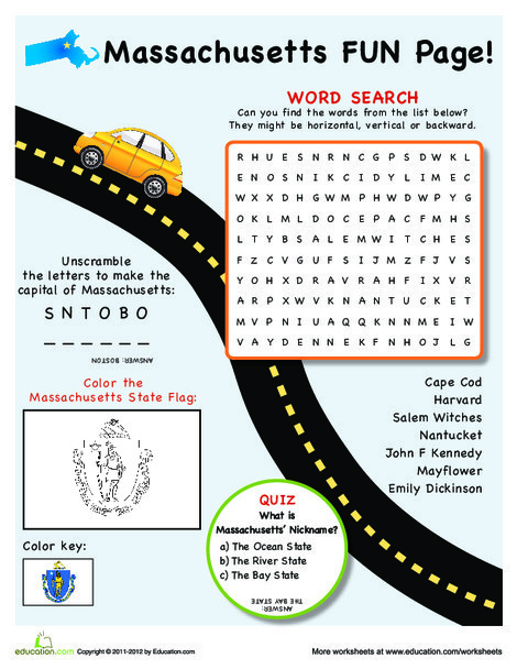 Fourth Grade Social studies Worksheets: Massachusetts Fun Facts