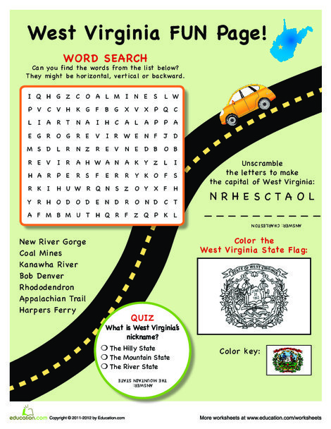 Fourth Grade Social studies Worksheets: West Virginia Fun Facts