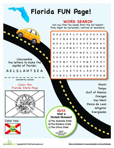 Fourth Grade Social studies Worksheets: Florida Fun Facts