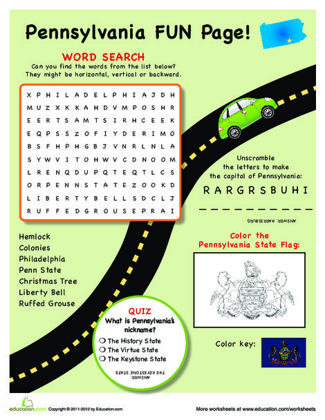 Fourth Grade Social studies Worksheets: Pennsylvania Fun Facts