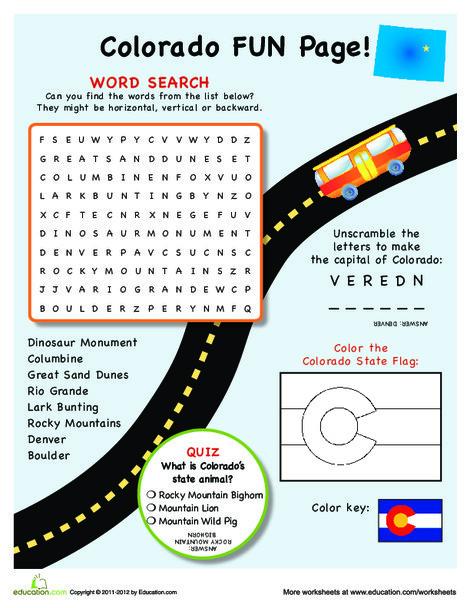 Fourth Grade Social studies Worksheets: Colorado Fun Facts
