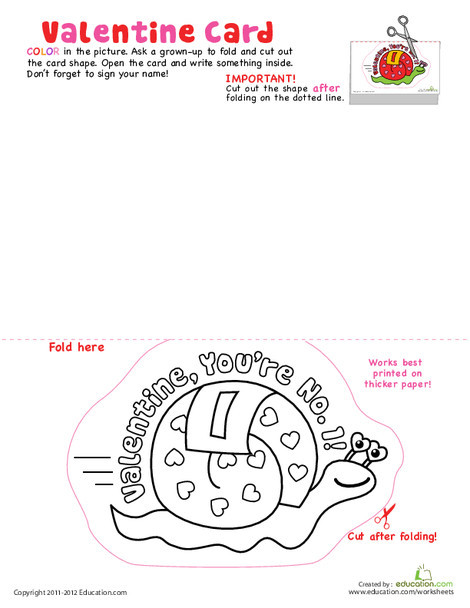 First Grade Arts & crafts Worksheets: Valentine Card: Snail Mail