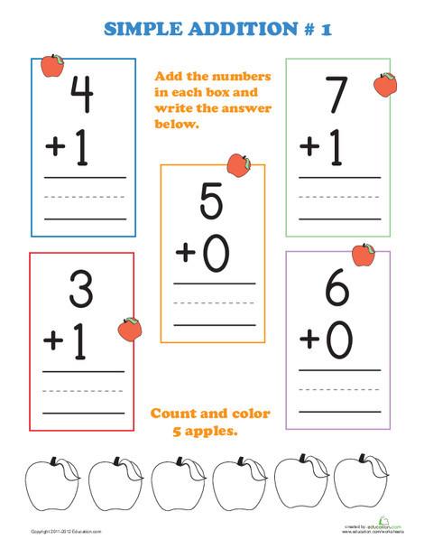 Preschool Math Worksheets: Printable Addition Flash Cards