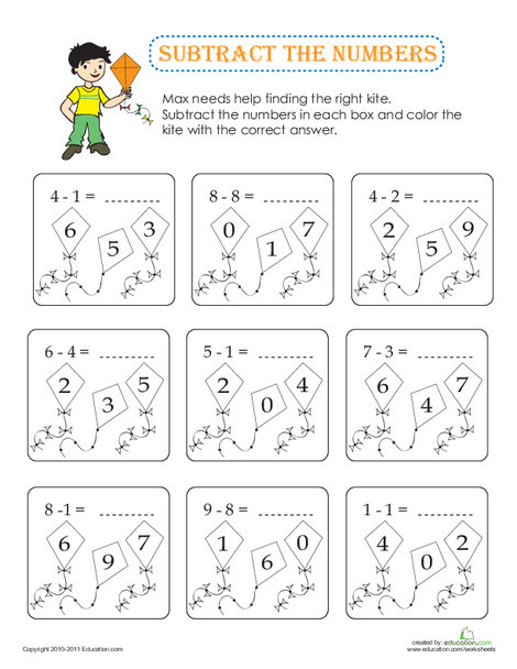 Kindergarten Math Worksheets: Subtract the Numbers with Max