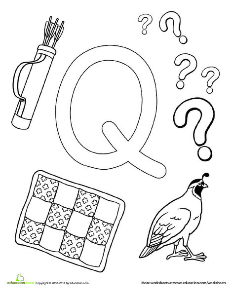 Preschool Reading & Writing Worksheets: Q Is For...