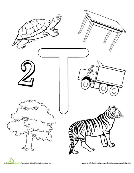Preschool Reading & Writing Worksheets: T Is For...