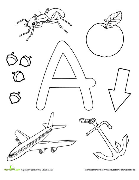 Preschool Reading & Writing Worksheets: A Is For...