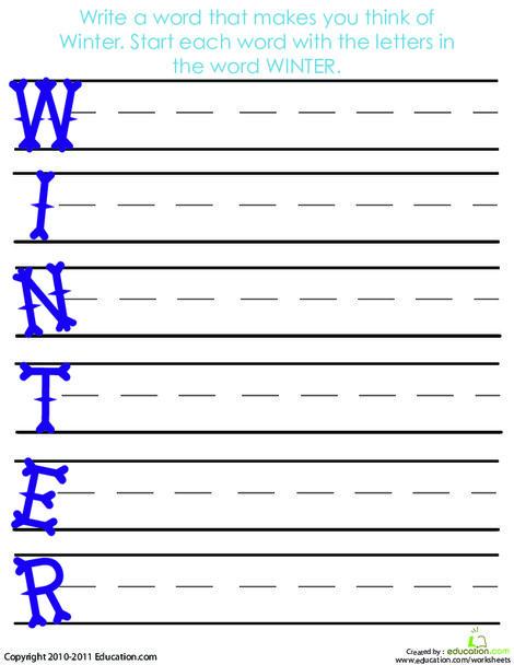 First Grade Seasons Worksheets: Acrostic Winter Poem
