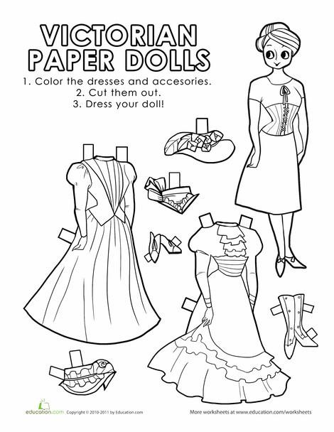 Second Grade Social studies Worksheets: Victorian Paper Dolls