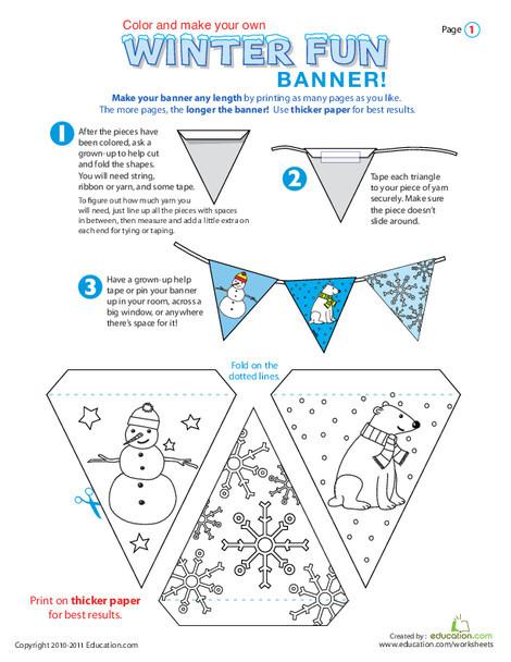 First Grade Seasons Worksheets: Winter Banner!