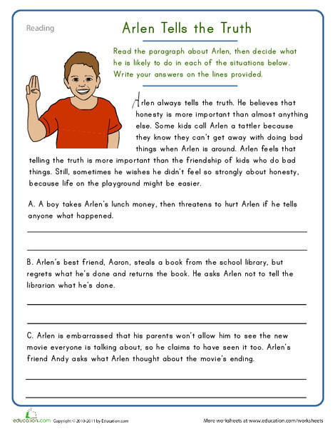 Fifth Grade Reading & Writing Worksheets: Arlen Tells the Truth